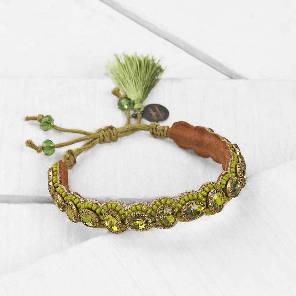 Deepa by Deepa Gurnani Pia Bracelet Olive Color on Wood Background