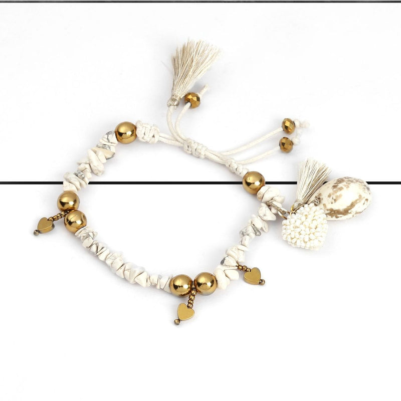 Deepa by Deepa Gurnani Handmade Sidney Bracelet Ivory on Wood Background