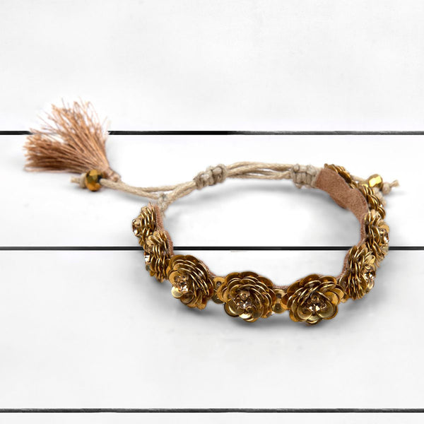 Deepa by Deepa Gurnani Handmade Krisha Bracelet Gold on Wood Background