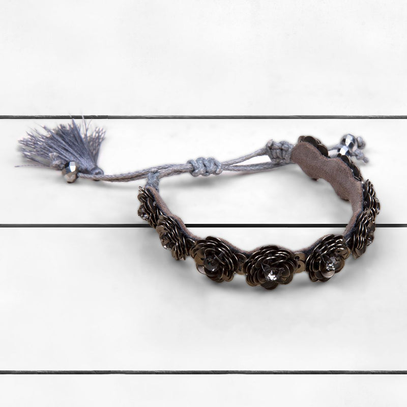 Deepa by Deepa Gurnani Handmade Krisha Bracelet Gunmetal on Wood Background