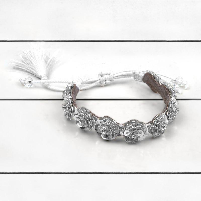 Deepa by Deepa Gurnani Handmade Krisha Bracelet Silver on Wood Background