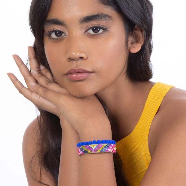 model wearing handmade cobalt blue beaded bracelet