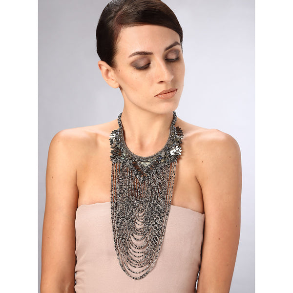 Model Wearing Deepa Gurnani Handmade Marisol Luxe Necklace
