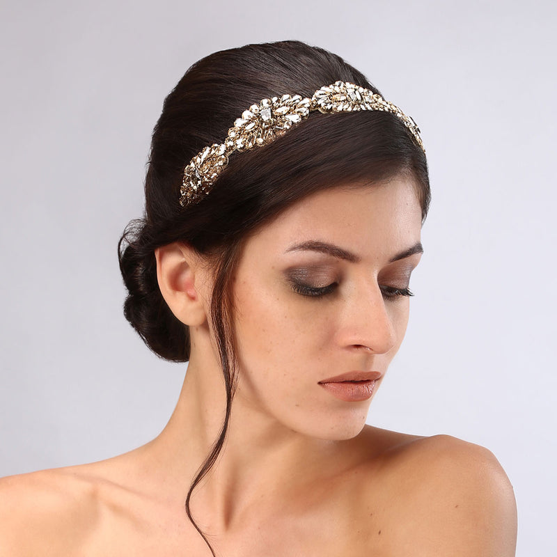 Model Wearing Deepa Gurnani Handmade Mimi Luxe Headband in Gold