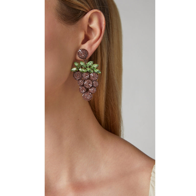 Deepa Gurnani Crystal Grape Earrings