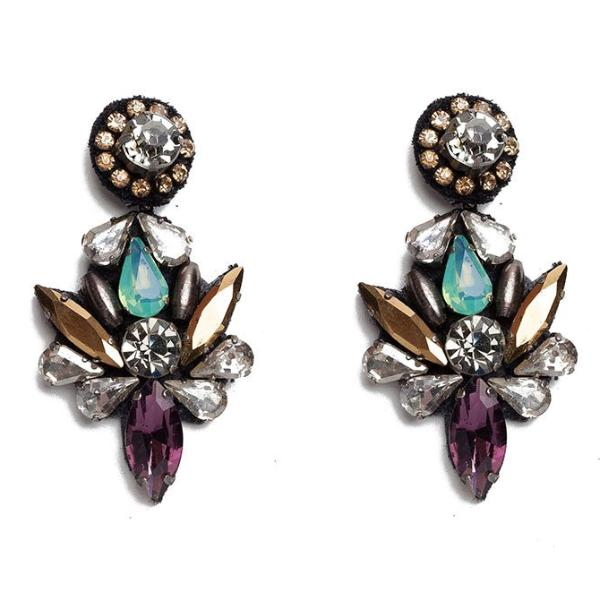 Deepa by Deepa Gurnani Handmade Vida Earrings in Gunmetal