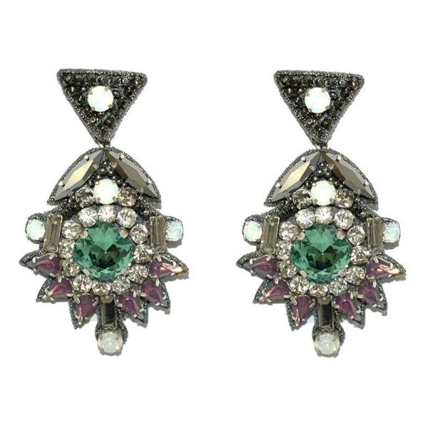 Deepa by Deepa Gurnani Handmade Willa Earrings in Gunmetal