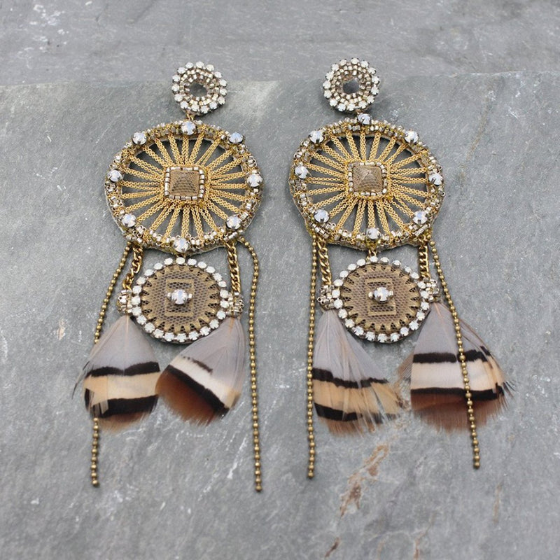 Deepa Gurnani Handmade Joelle Luxe Earring on Slate Background