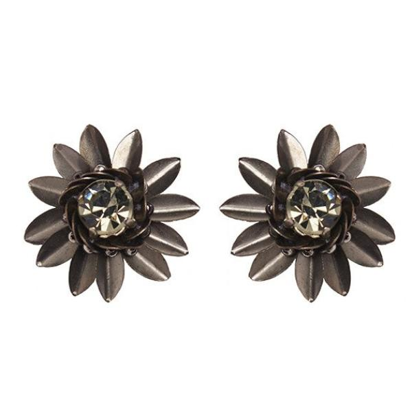 Deepa by Deepa Gurnani Handmade Ora Earrings in Gunmetal