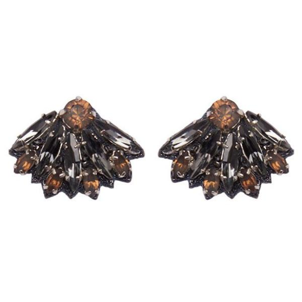 Deepa by Deepa Gurnani Handmade Vania Earrings in Gunmetal