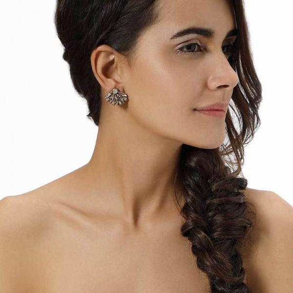 Model Wearing Deepa by Deepa Gurnani Handmade Vania Earrings in Gold