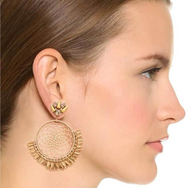 Model Wearing Deepa by Deepa Gurnani Handmade Pixie Earrings in Gold
