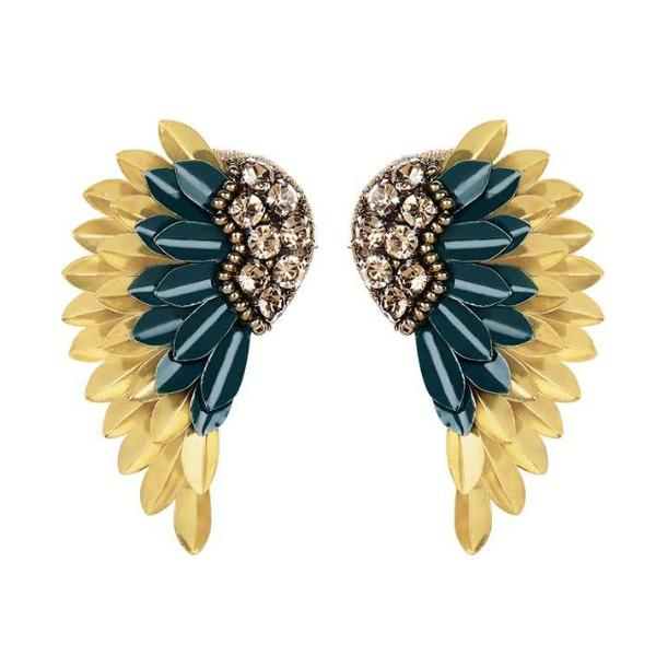Deepa by Deepa Gurnani Handmade Perry Earrings in Hunter and Gold
