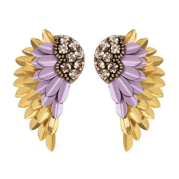 Deepa by Deepa Gurnani Handmade Perry Earrings in Lilac and Gold