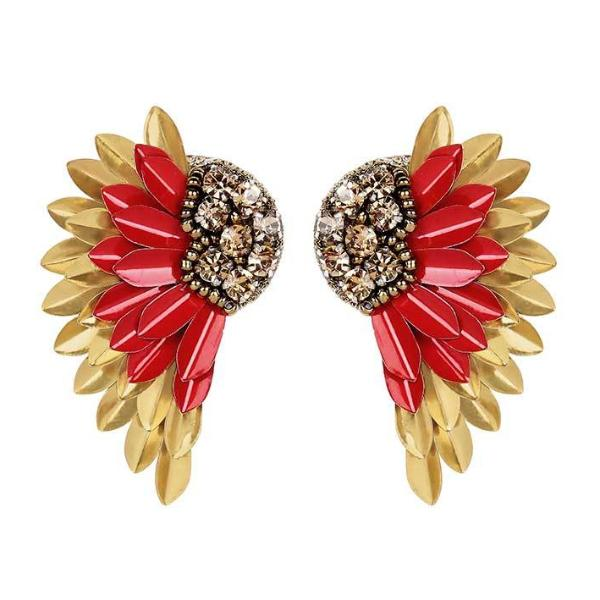 Deepa by Deepa Gurnani Handmade Perry Earrings in Red and Gold