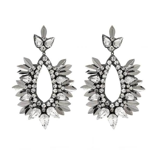 Deepa by Deepa Gurnani Handmade Izzie Earrings in Gunmetal
