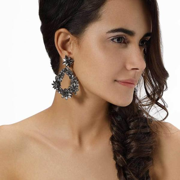 Model Wearing Deepa by Deepa Gurnani Handmade Gunmetal Color Belie Earrings