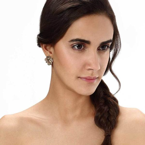 Model Wearing Deepa by Deepa Gurnani Handmade Tristan Earrings in Gold