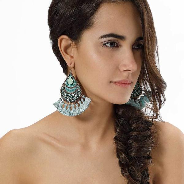 Model Wearing Deepa by Deepa Gurnani Handmade Arlette Earrings in Turquoise