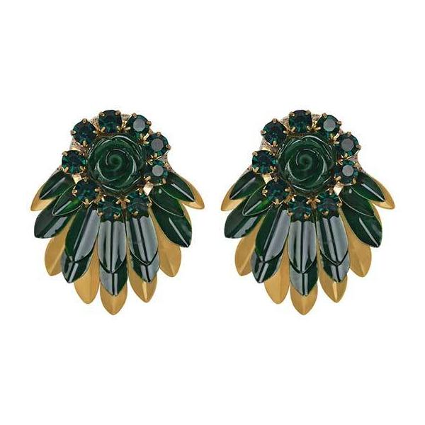 Deepa by Deepa Gurnani Handmade Emerald Color Cylee Earrings