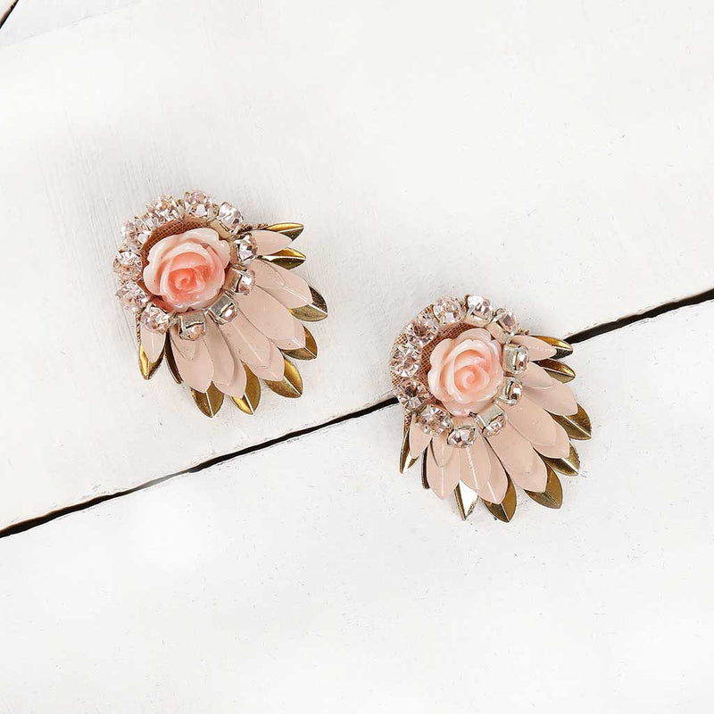 Deepa by Deepa Gurnani Handmade Peach Cylee Earrings