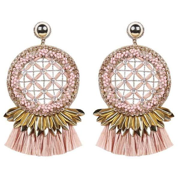 Deepa by Deepa Gurnani Handmade Daleah Earrings in Gold and Peach