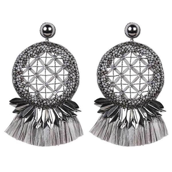 Deepa by Deepa Gurnani Handmade Daleah Earrings in Gunmetal