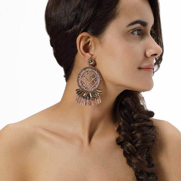 Model Wearing Deepa by Deepa Gurnani Handmade Daleah Earrings in Gold and Peach
