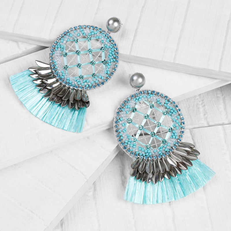 Deepa by Deepa Gurnani Handmade Daleah Earrings in Mint on Wood Background