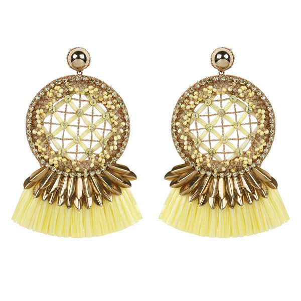 Deepa by Deepa Gurnani Handmade Daleah Earrings in Yellow