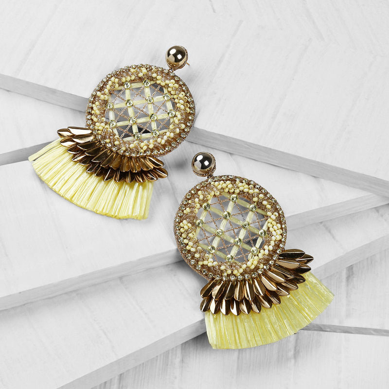 Deepa by Deepa Gurnani Handmade Daleah Earrings in Yellow on Wood Background