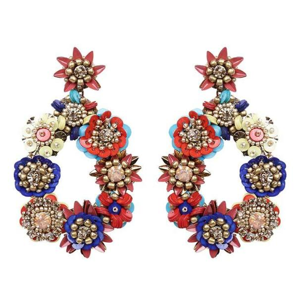Deepa by Deepa Gurnani Handmade Gold Multi Color Cherise Earrings