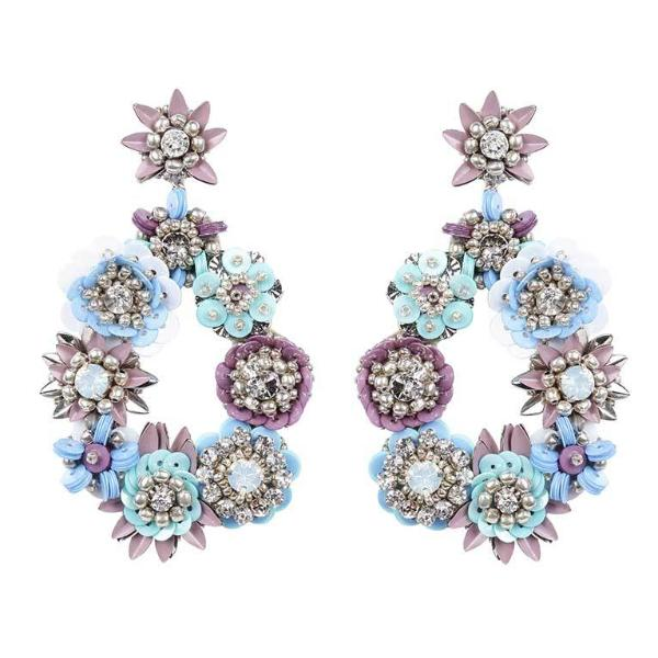 Deepa by Deepa Gurnani Handmade Silver Multi Color Cherise Earrings