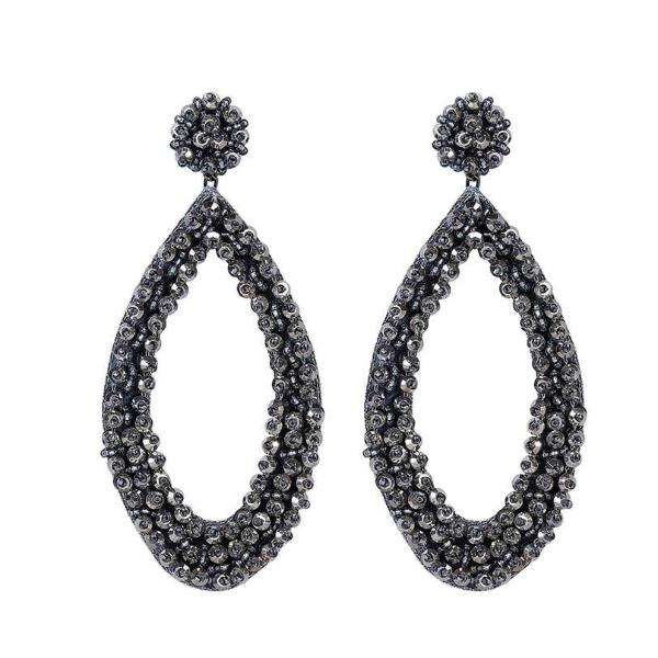 Deepa by Deepa Gurnani Handmade Capri Earrings in Gunmetal