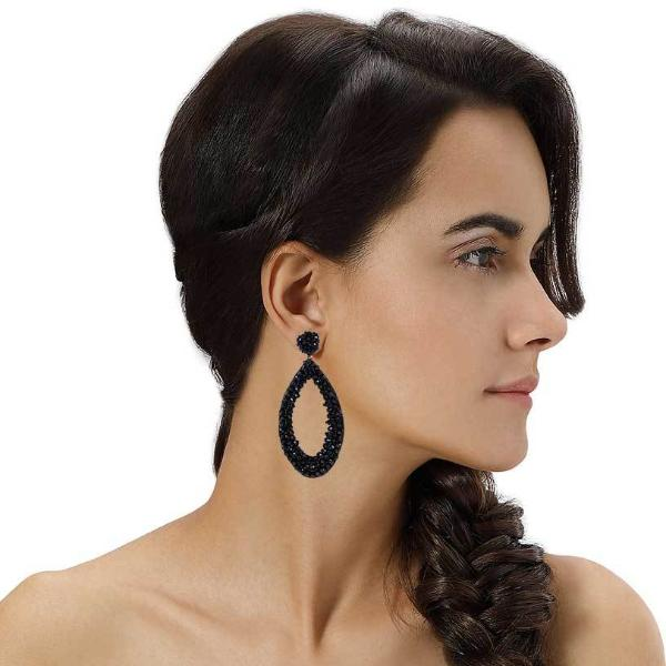 Model Wearing Deepa by Deepa Gurnani Handmade Capri Earrings in Black