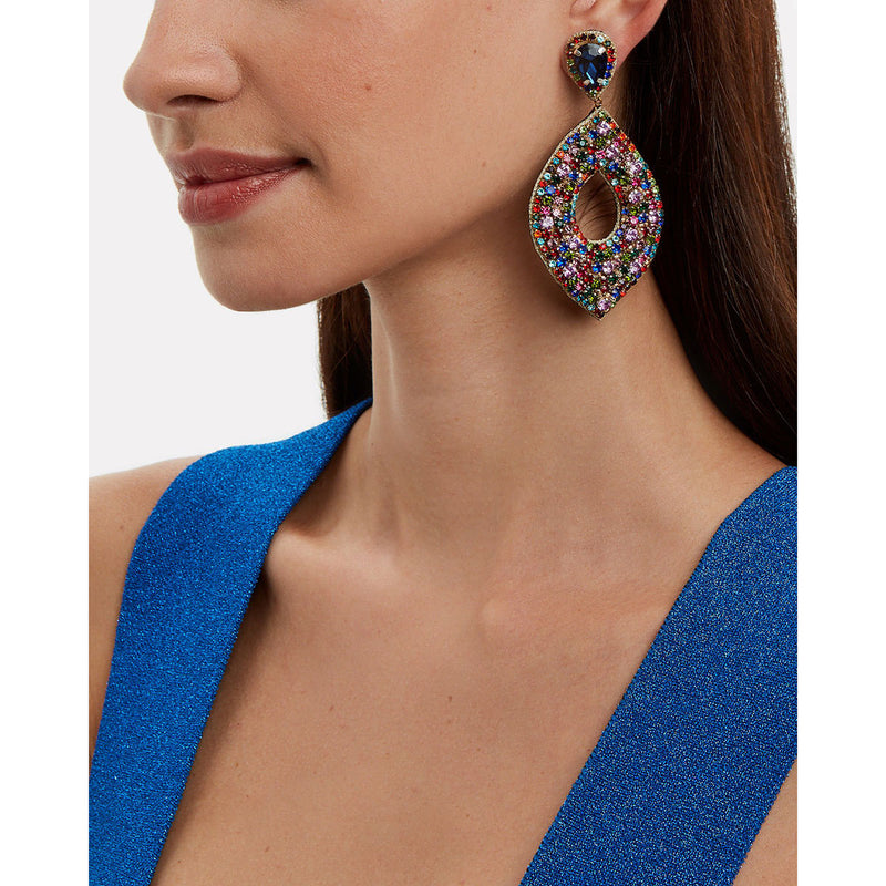 Multicolor crystal statement earrings