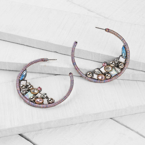 Deepa by Deepa Gurnani Handmade Emberlee Earrings in Gunmetal
