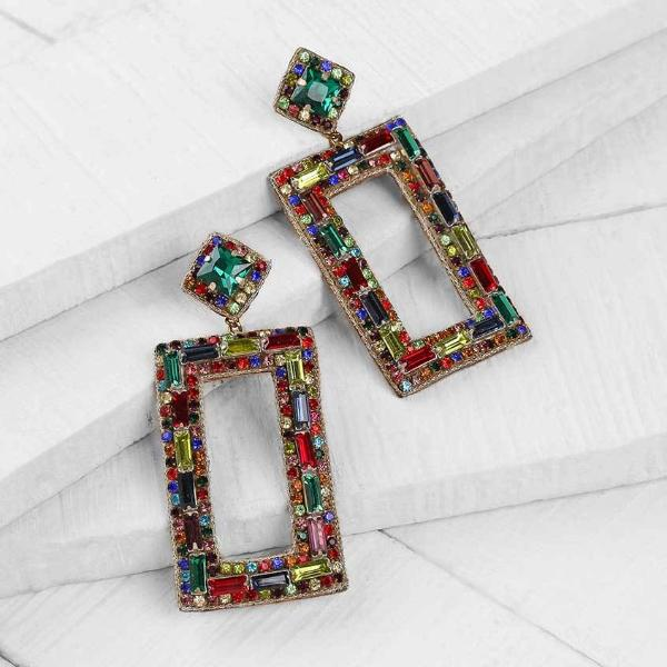 Deepa by Deepa Gurnani Handmade Multicolor Cienna Earrings on Wood Background