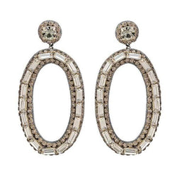 Deepa by Deepa Gurnani Handmade Gunmetal Color Emerald Earrings