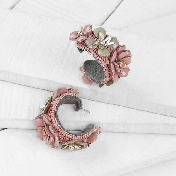 Deepa by Deepa Gurnani Handmade Grayce Earrings in Pink on Wood Background