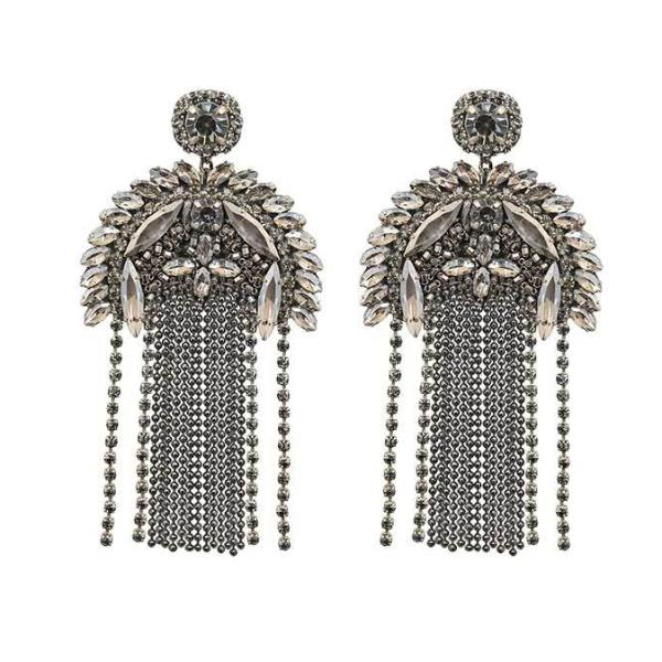 Deepa by Deepa Gurnani Handmade Gunmetal Color Paulette Earrings