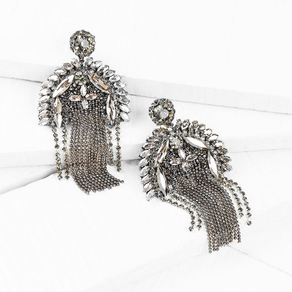 Deepa by Deepa Gurnani Handmade Gunmetal Color Paulette Earrings on Wood Background