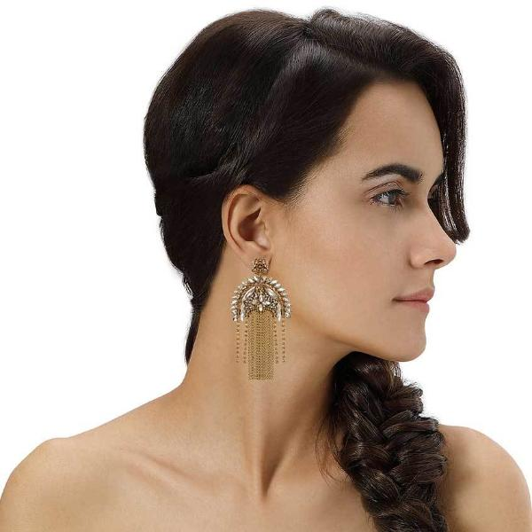 Model Wearing Deepa by Deepa Gurnani Handmade Gold Color Paulette Earrings