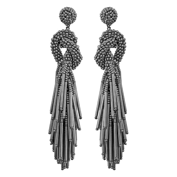 Deepa by Deepa Gurnani Handmade Tala Earrings in Gray