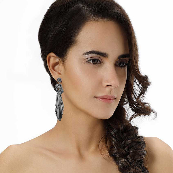 Model Wearing Deepa by Deepa Gurnani Handmade Tala Earrings in Gray