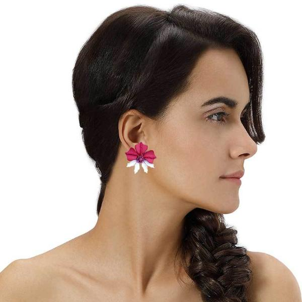Model Wearing Deepa by Deepa Gurnani Handmade Fuchsia Rafela Earrings