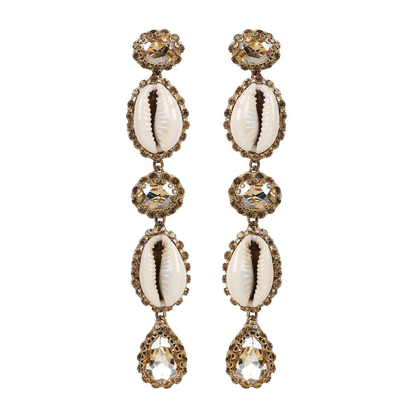 Deepa by Deepa Gurnani Handmade Kaia Shell Earrings in Gold