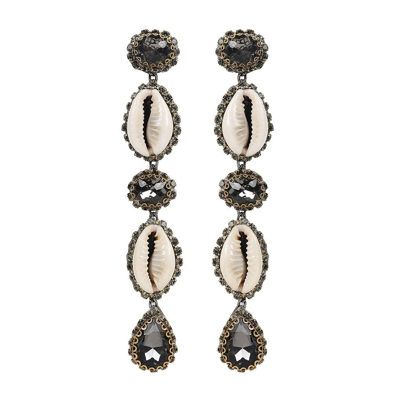 Deepa by Deepa Gurnani Handmade Kaia Shell Earrings in Gunmetal