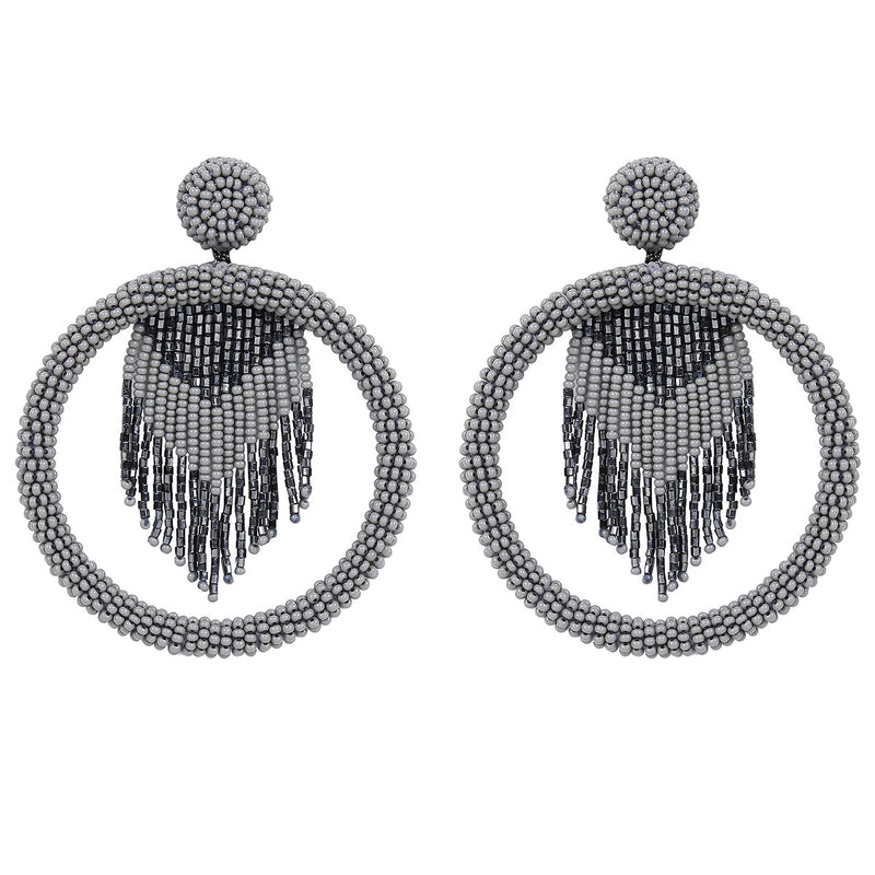 Deepa by Deepa Gurnani Handmade Sadia Earrings in Gunmetal