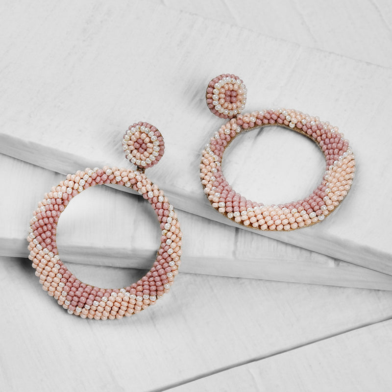Deepa by Deepa Gurnani Handmade Embroidered Leila Earrings in Blush